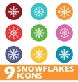 Colored round snowflakes icon set vector image