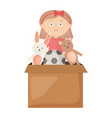 cute little girl playing with toys box vector image