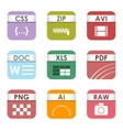 File type icons set vector image vector image