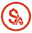 fire disaster rounded grainy icon vector image vector image