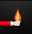 flame in human hand fire symbol vector image vector image