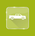 flat style pickup truck silhouette icon vector image