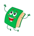 Funny book character jumping happily celebrating vector image vector image
