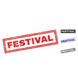 grunge festival scratched rectangle watermarks vector image vector image
