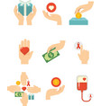 hands with love for charity symbol vector image
