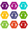 headset icons set 9 vector image vector image