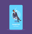 male security guard worker sleeping at workplace vector image vector image