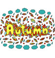 mandala and autumn word doodle lettering colorful vector image vector image