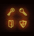 neon keys shield door signs isolated on b vector image vector image