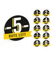 number of days left promotional banner symbol vector image