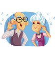 old senior couple listening to music cartoon vector image vector image