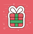 red and green gift box merry christmas surprise vector image vector image