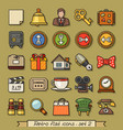 retro flat line icons - set 2 vector image