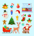 set christmas stickers vector image