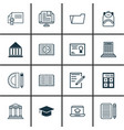 set of 16 education icons includes e-study home vector image vector image