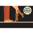 Shoe sale now on black shopping banner with human vector image