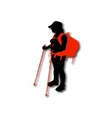 Silhouette of hiker with backpack and sticks vector image vector image