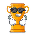 super cool cartoon trophy cup with star on cyan vector image