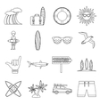 Surfing icons set outline style vector image vector image