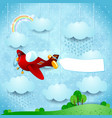 surreal landscape with airplane banner and rain vector image