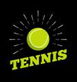 tennis sport ball logo icon sun burtst print hand vector image vector image
