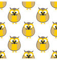 tile pattern with yellow owls on white background vector image