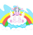 unicorn with wings sits on the clouds vector image