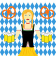 waitress wit beer mugs decorated vector image