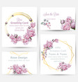 watercolor rose flowers cards set collection vector image vector image