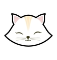 white cat kitty closed eyes animal cute vector image vector image