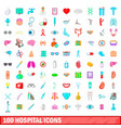 100 hospital icons set cartoon style vector image vector image