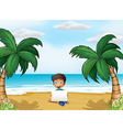 A boy holding an empty signage at the beach vector image vector image