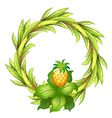A green border with pineapple vector image vector image