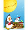 A penguin near the sleigh with a snowman vector image vector image