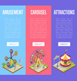 amusement park isometric vertical flyers vector image vector image