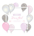 balloons in paper cut out square frame birthday vector image