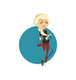 blonde glamour girl with little dog vector image vector image