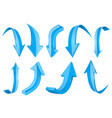 blue 3d shiny arrows set of up and down icons vector image vector image