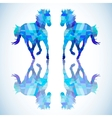 Blue abstract horse of geometric shapes vector image vector image