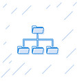 blue folder tree line icon isolated on white vector image vector image