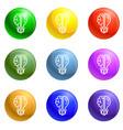 brain bulb icons set vector image