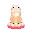 bunny cake easter vector image