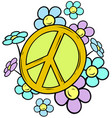 cartoon yellow peace sign with colored flowers vector image vector image