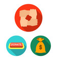 charity and donation flat icons in set collection