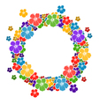 Circle frame with flowers for your text vector image vector image