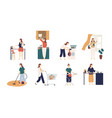 collection scenes with woman or housewife doing vector image