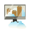 computer monitor with stack of cryptocoins poster vector image vector image