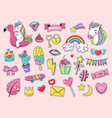 cute patch badges magic fashion doodle patches vector image