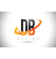 db d b letter logo with fire flames design vector image vector image