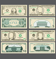 dollar banknotes us currency money bills vector image vector image